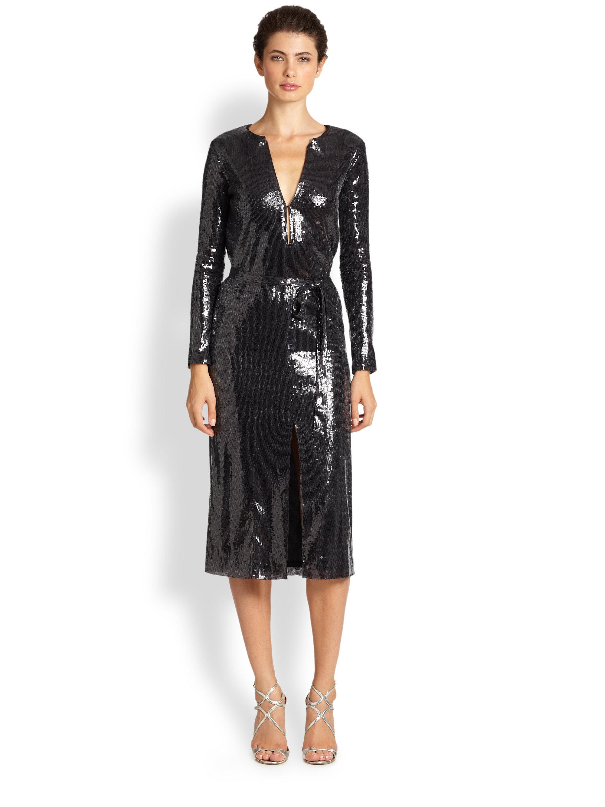 Lyst Halston Sequin Longsleeve Dress In Black