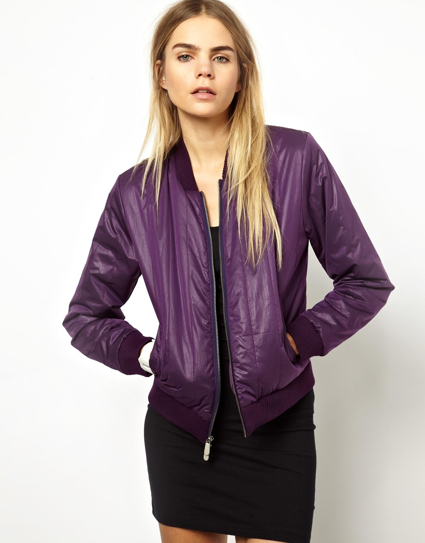 Won hundred Isa Quilted Bomber Jacket in Blackberry in Purple | Lyst