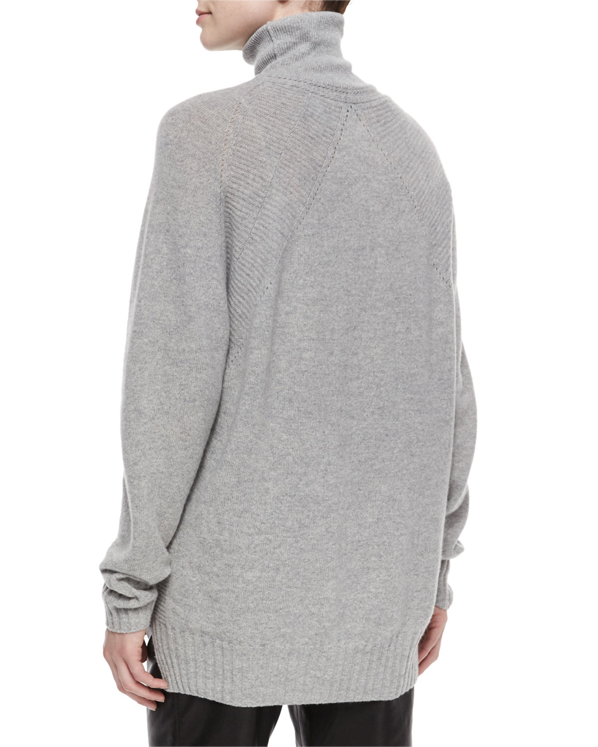 Belstaff Turtleneck Oversized Cashmere-blend Tunic Sweater in Gray ...