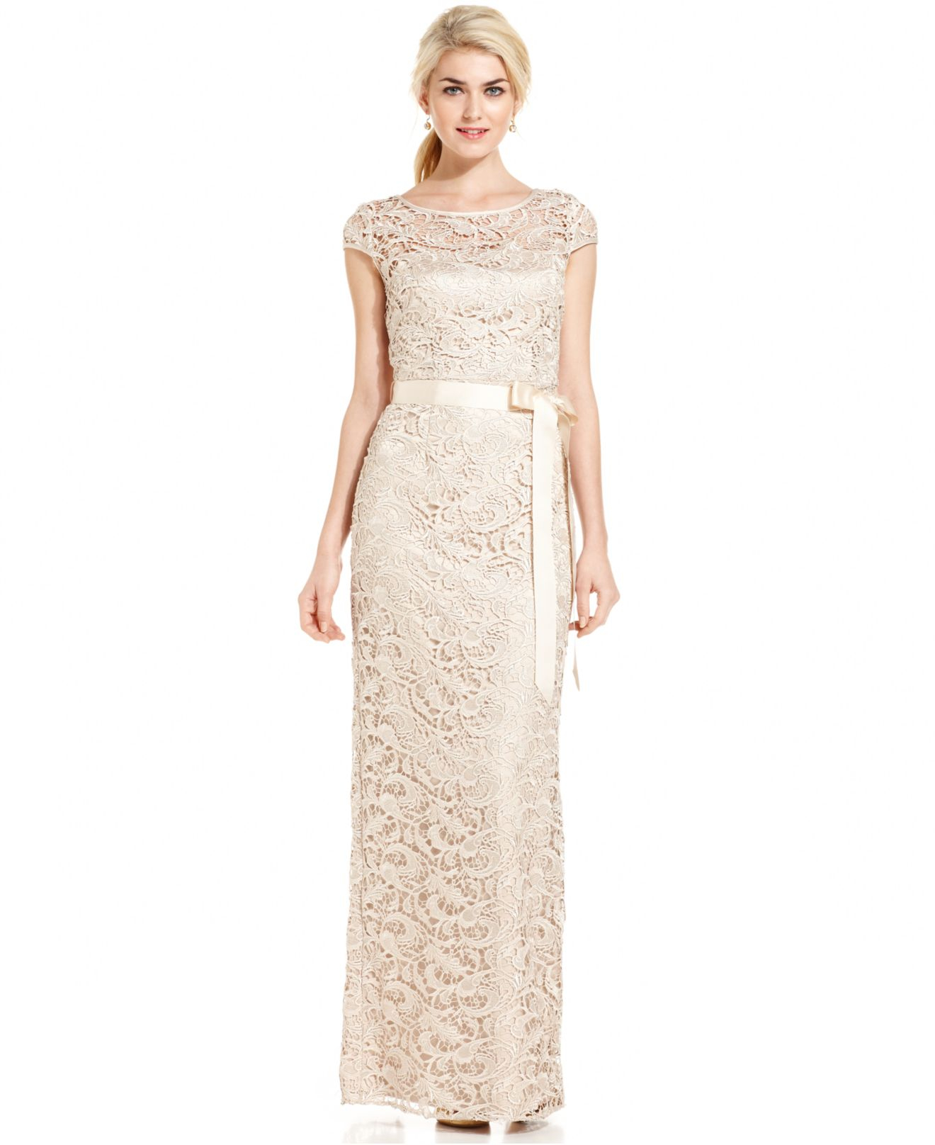 Lyst - Adrianna Papell Cap-sleeve Illusion Lace Gown in Natural