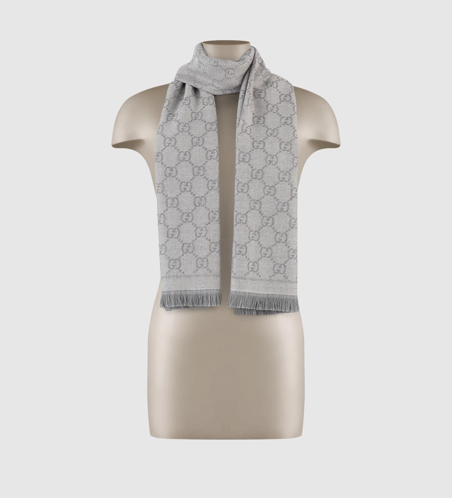GG jacquard knit scarf - Blue Gucci NGcq29l