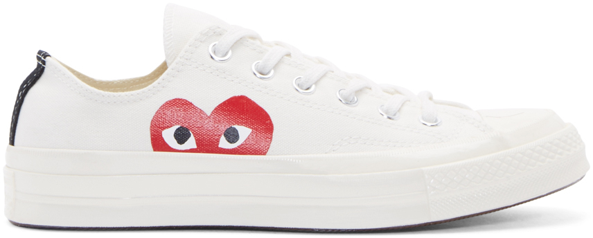 Lyst Play Comme Des Gar 231 Ons White Heart Logo Converse