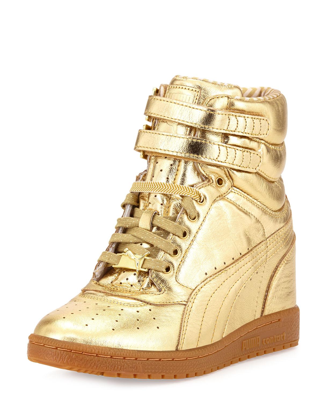 00c8c071c47b Lyst - PUMA Rime Sky Wedge Leather Hightop Sneaker Gold in Metallic