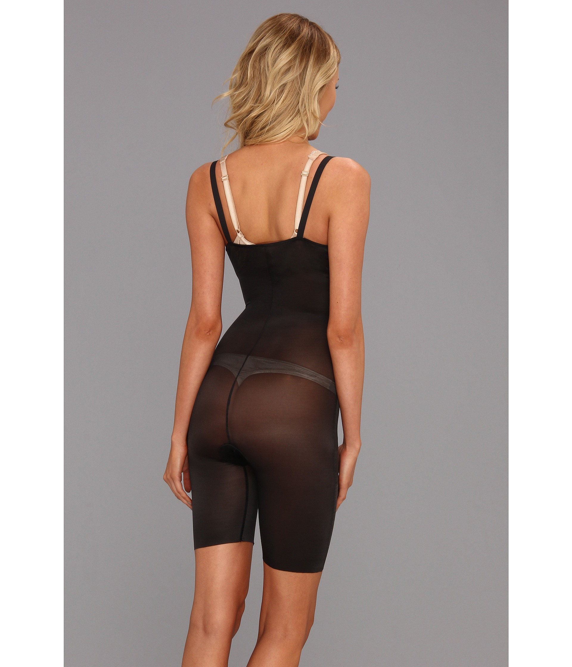 7ee9f4f896c Spanx Skinny Britches® Super Open-bust Mid-thigh Body Shaper in Black - Lyst