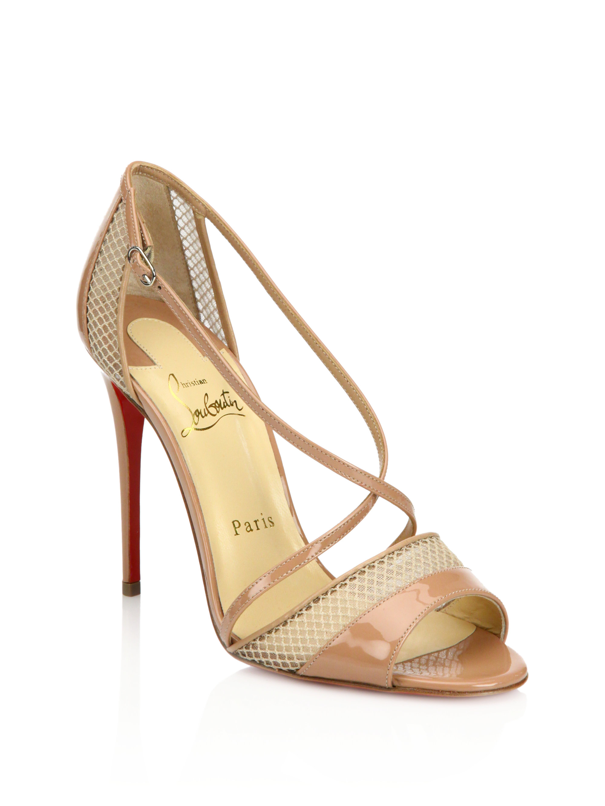 shoes replica usa - Christian louboutin Silkova Patent Leather & Mesh Sandals in Black ...