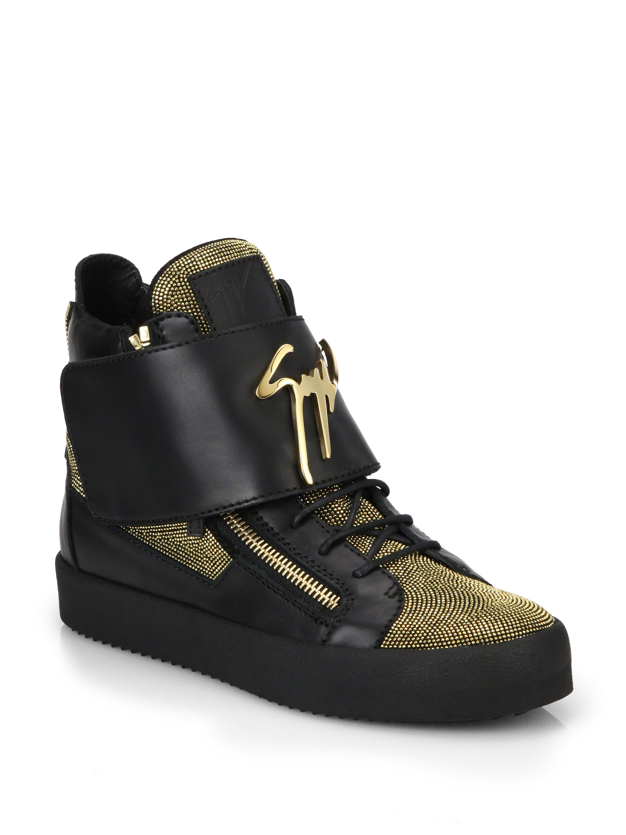 Lyst - Giuseppe Zanotti Leather Metallic Nailheads High ...