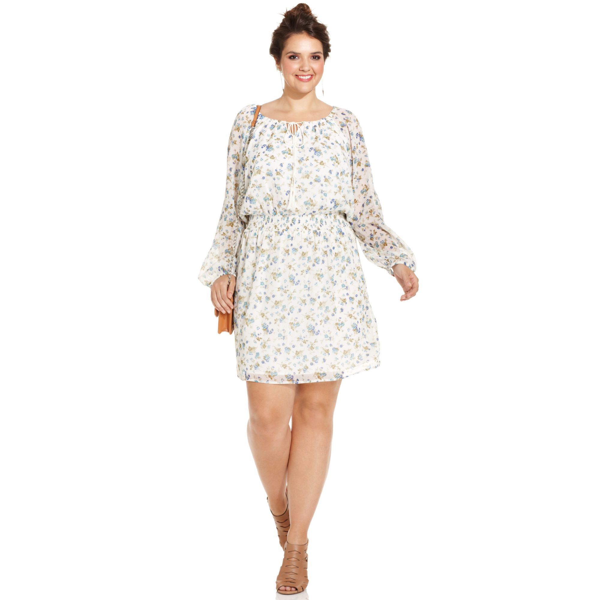 9b991f9a7d Lyst Jessica Simpson Plus Size Flprint Peasant Dress In White