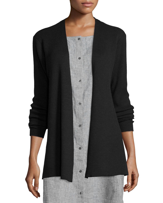 Eileen fisher Long Washable Wool Cardigan in Black | Lyst