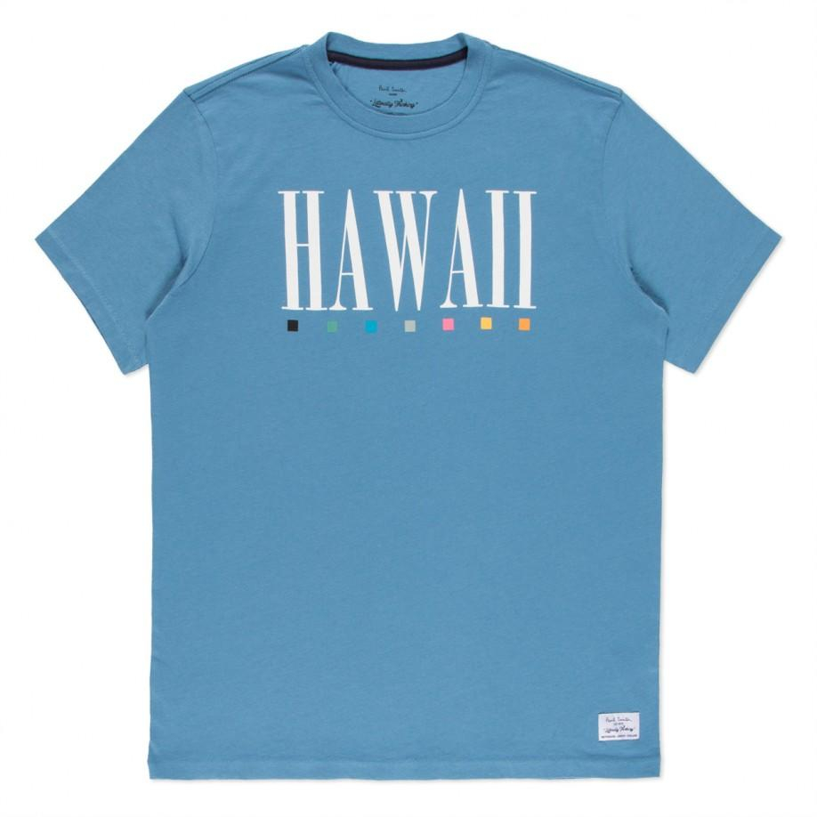 Paul smith sky blue hawaii print organic cotton t shirt in for Organic cotton t shirt printing