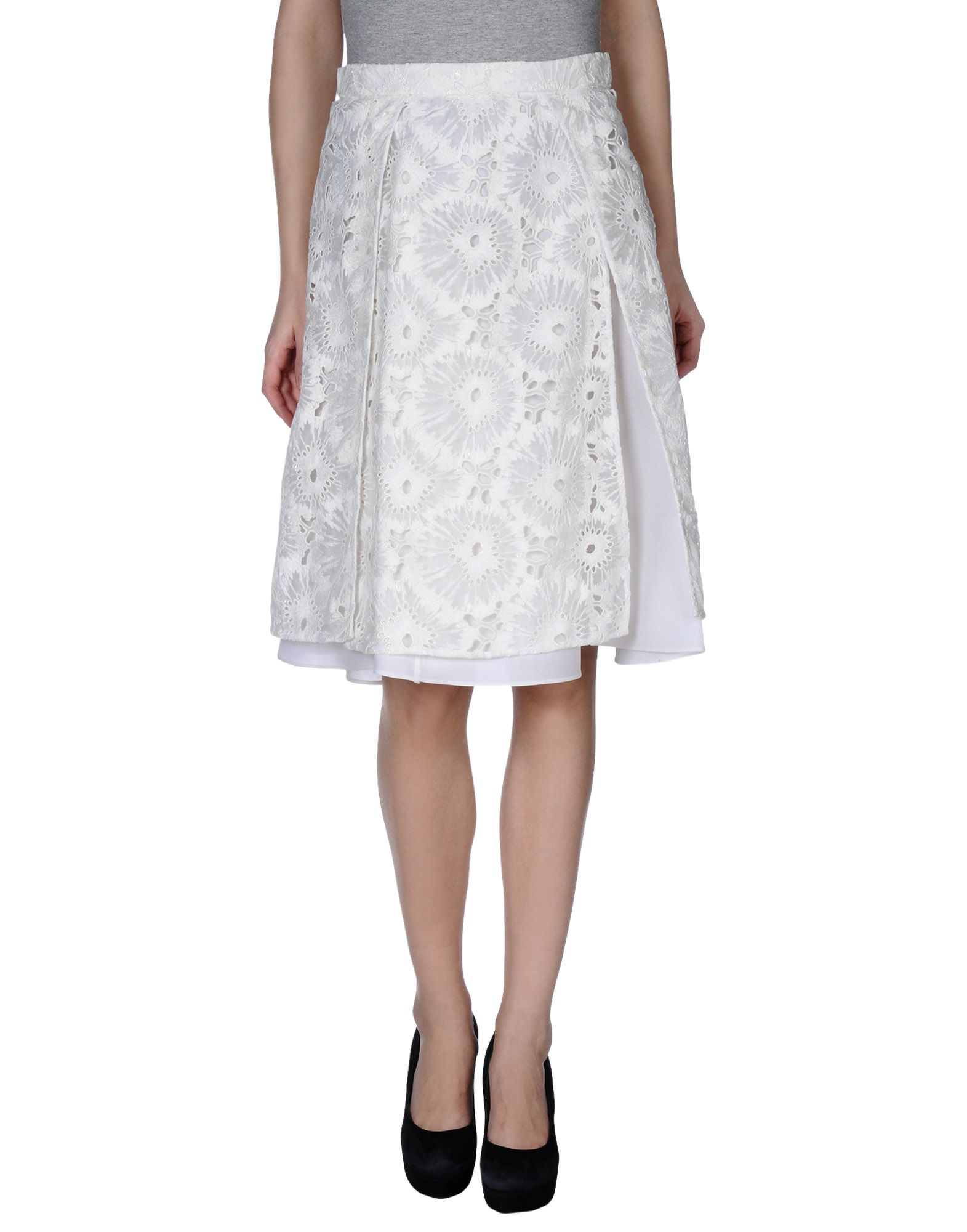 ports 1961 knee length skirt in white save 56 lyst