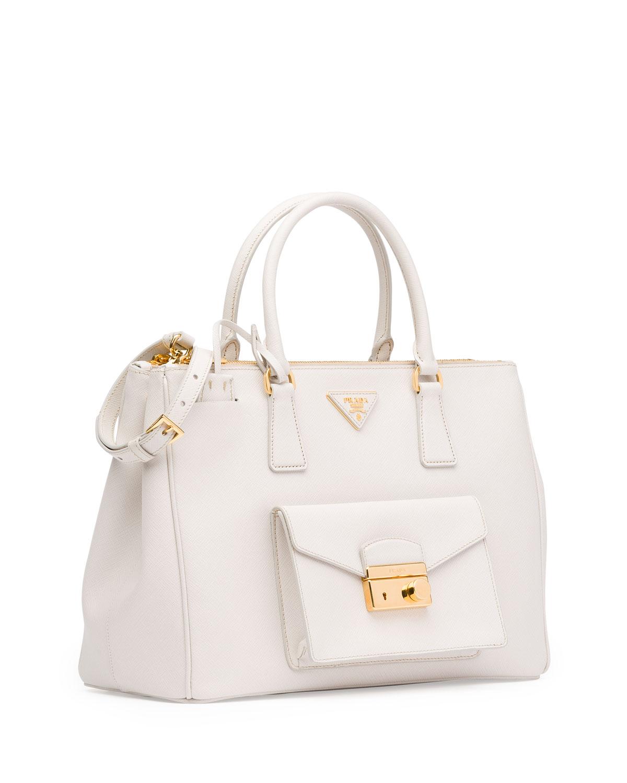 Lyst - Prada Saffiano Front-Pocket Tote Bag in White 74e85cea9a296