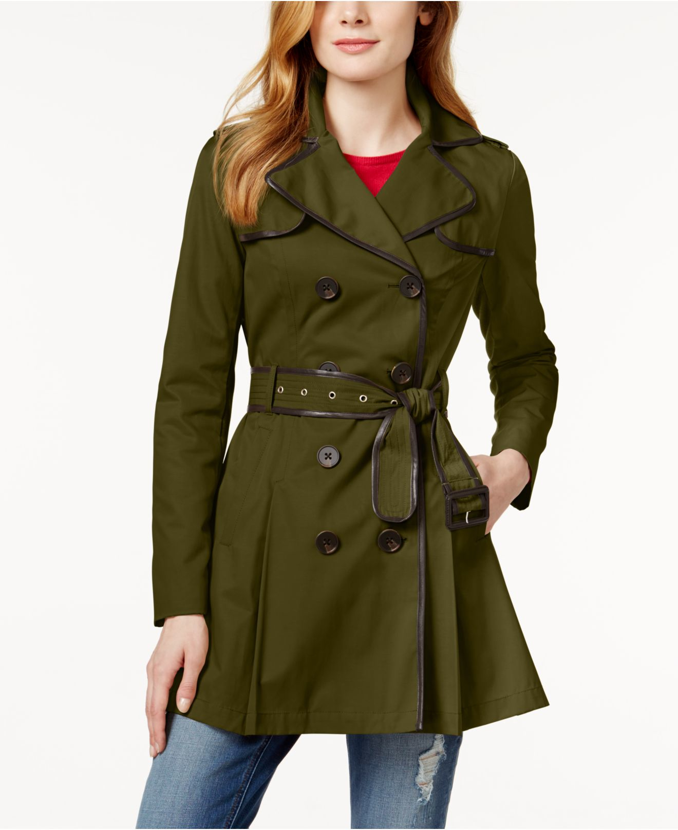 Bcbgeneration Faux Leather Trim Skirted Trench Coat In