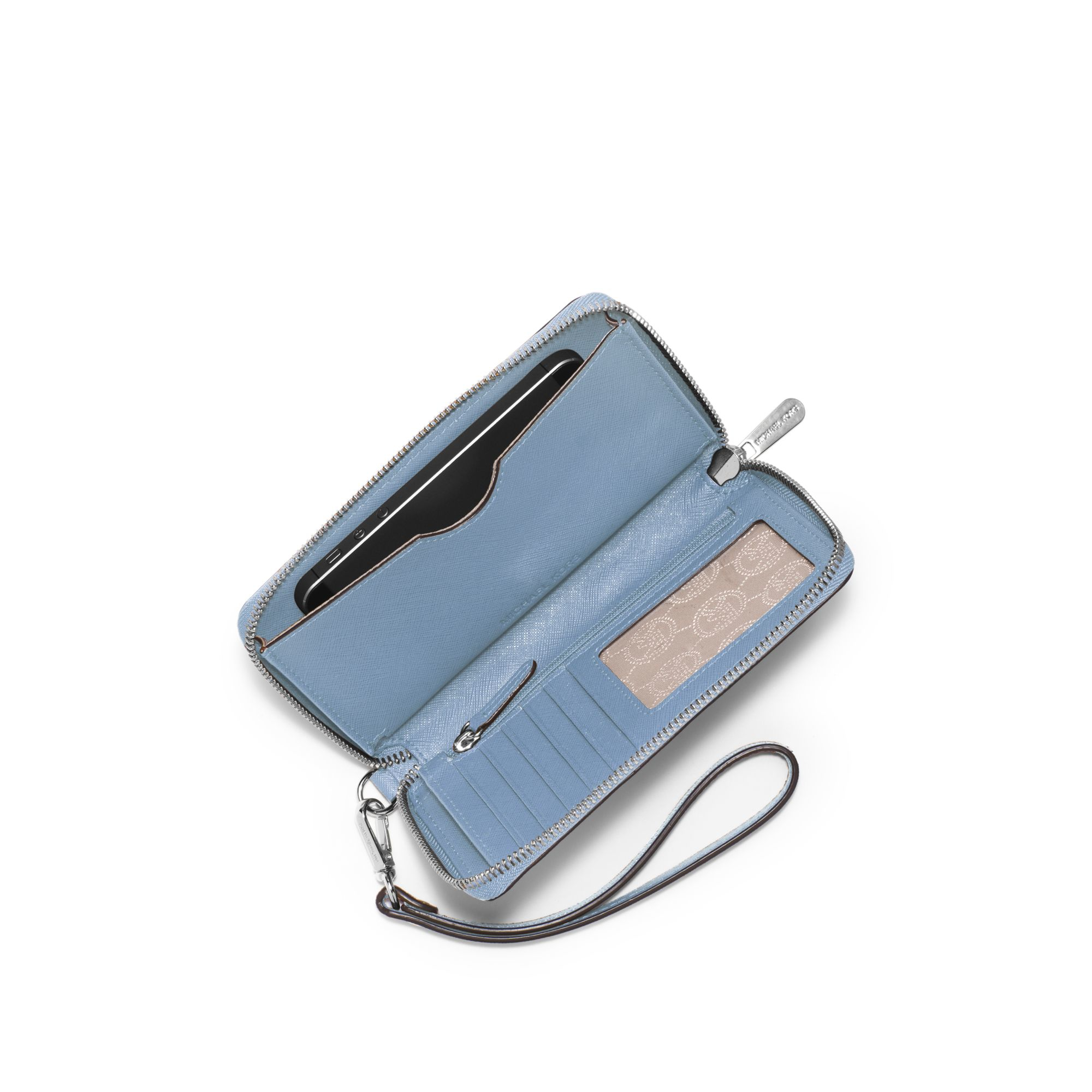 56f0de772795 Michael Kors Large Saffiano Leather Smartphone Wristlet in Blue - Lyst