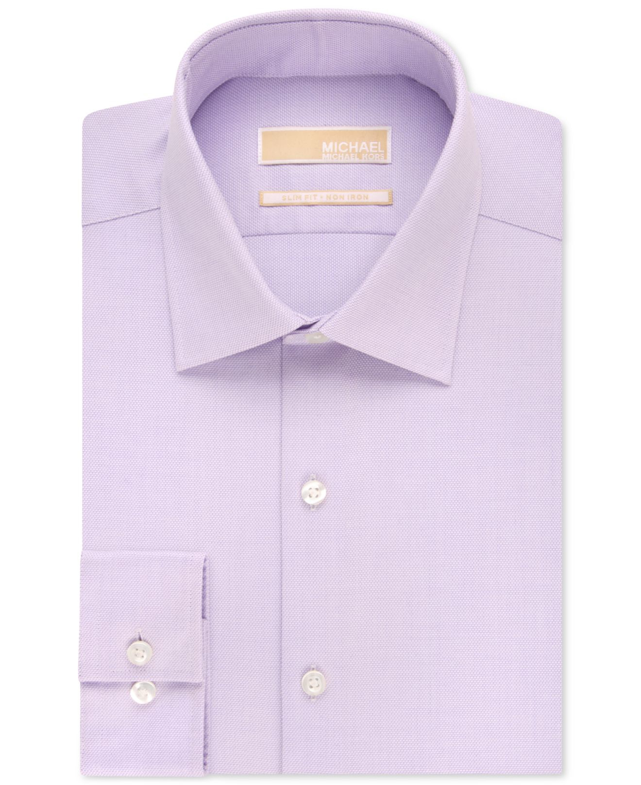 Michael kors michael slim fit non iron textured solid for Slim fit non iron dress shirts