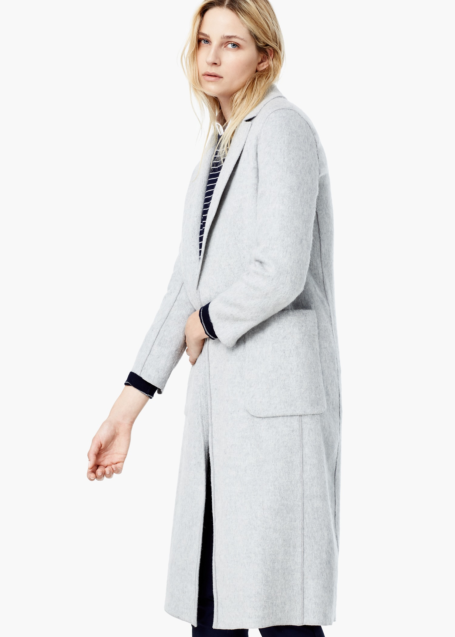 Mango Wool Straight Cut Coat In Gray Lyst