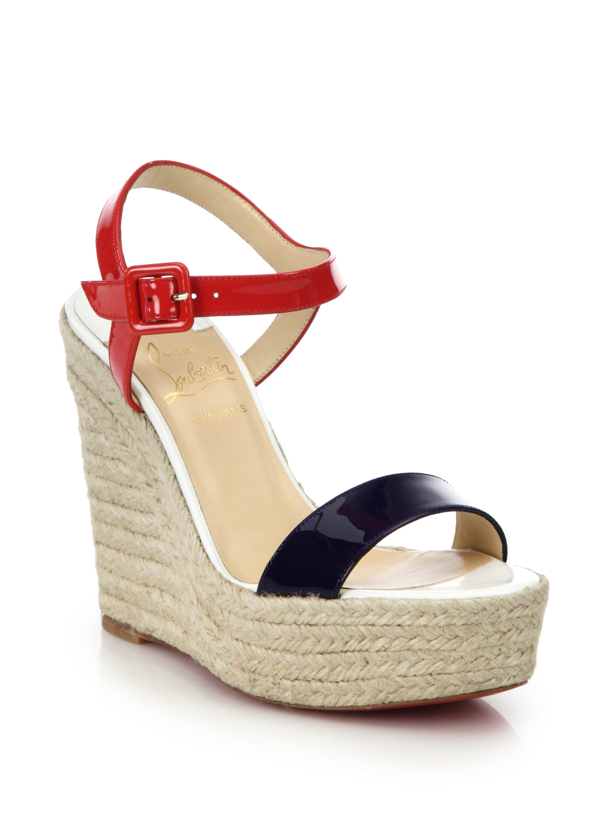 Lyst - Christian Louboutin Spachica Patent Leather Espadrille Wedge ...