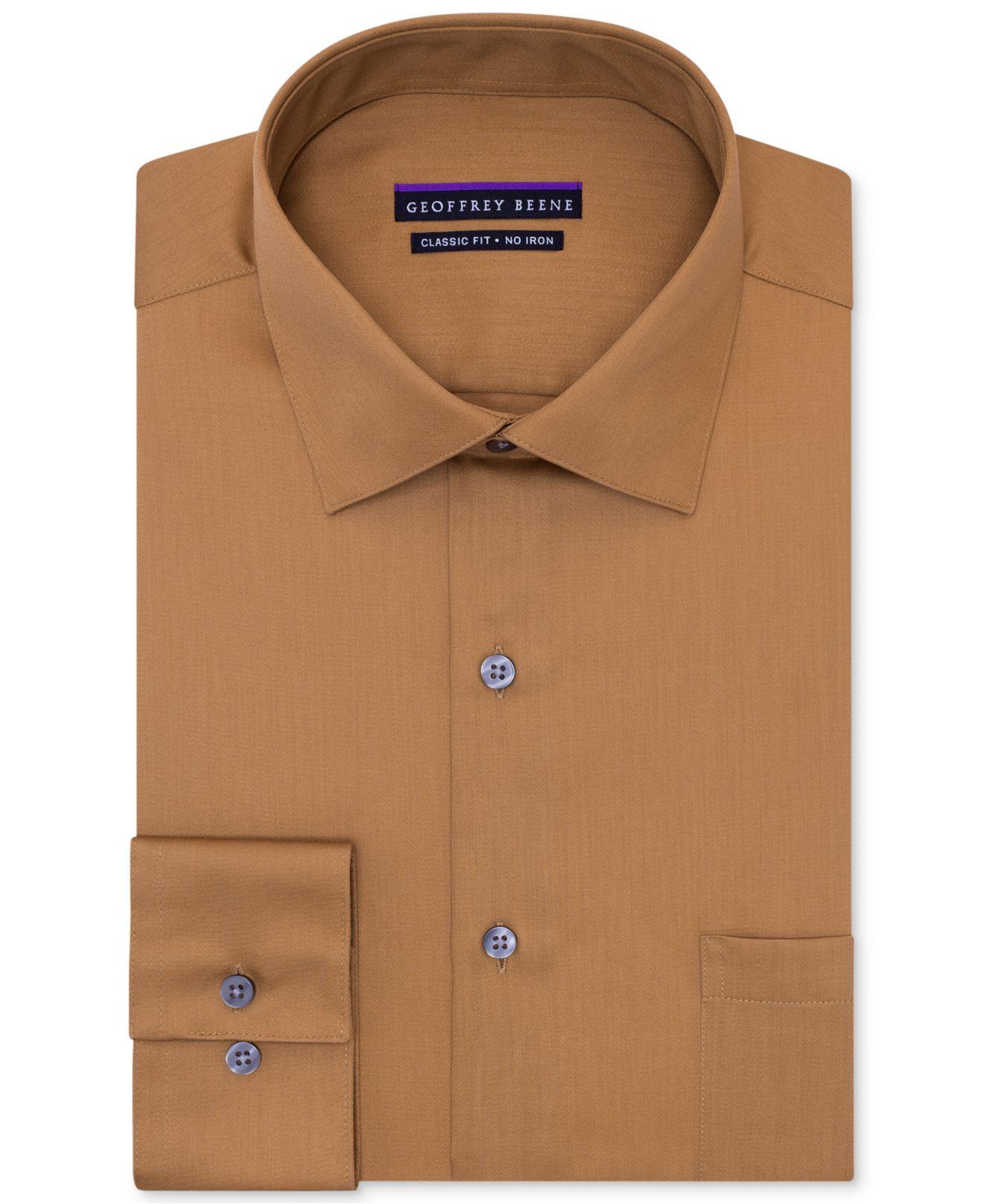 Geoffrey Beene Non-Iron Sateen Solid Dress Shirt In Brown For Men | Lyst