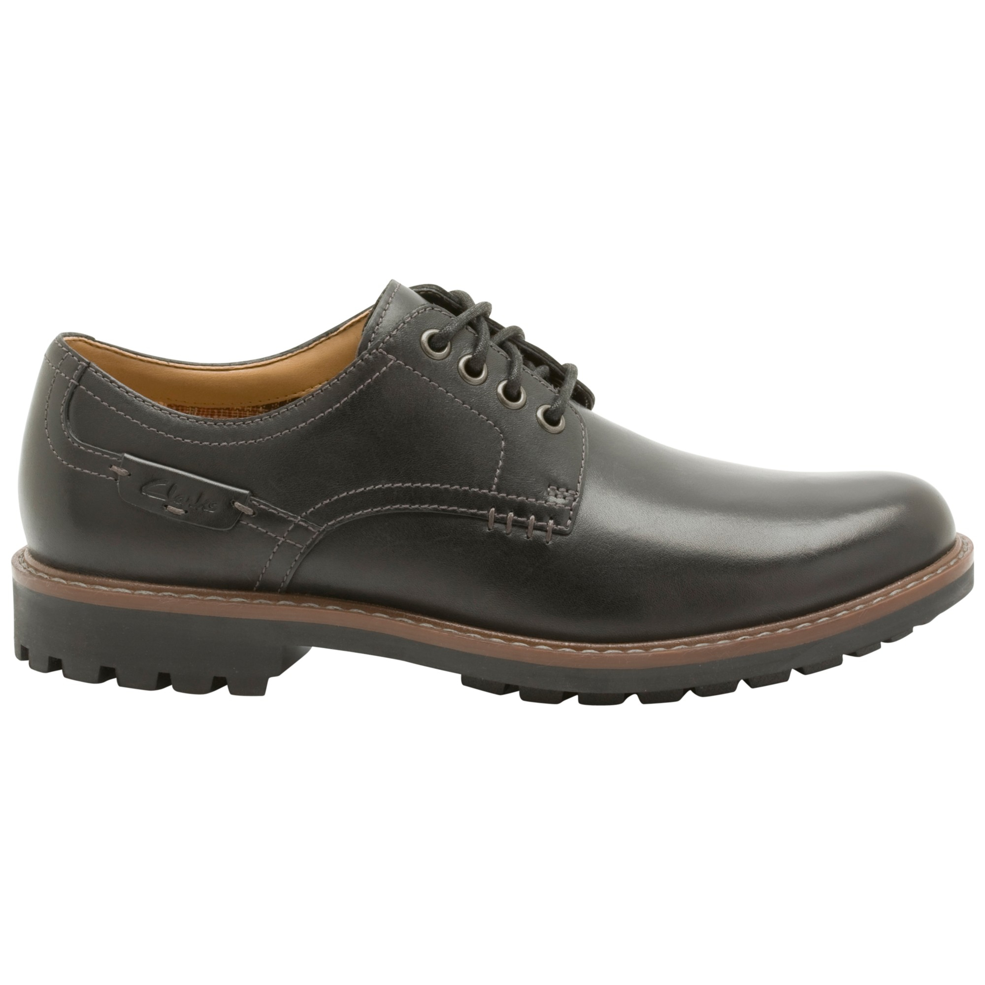 Clarks Derby shoes - timeless quality, urban style, and maximum comfort Derby shoes are ideal for a stylish look in the modern office or around town. The shoelace eyelets are stitched on top of the shoe vamp for a less formal look than Oxfords.