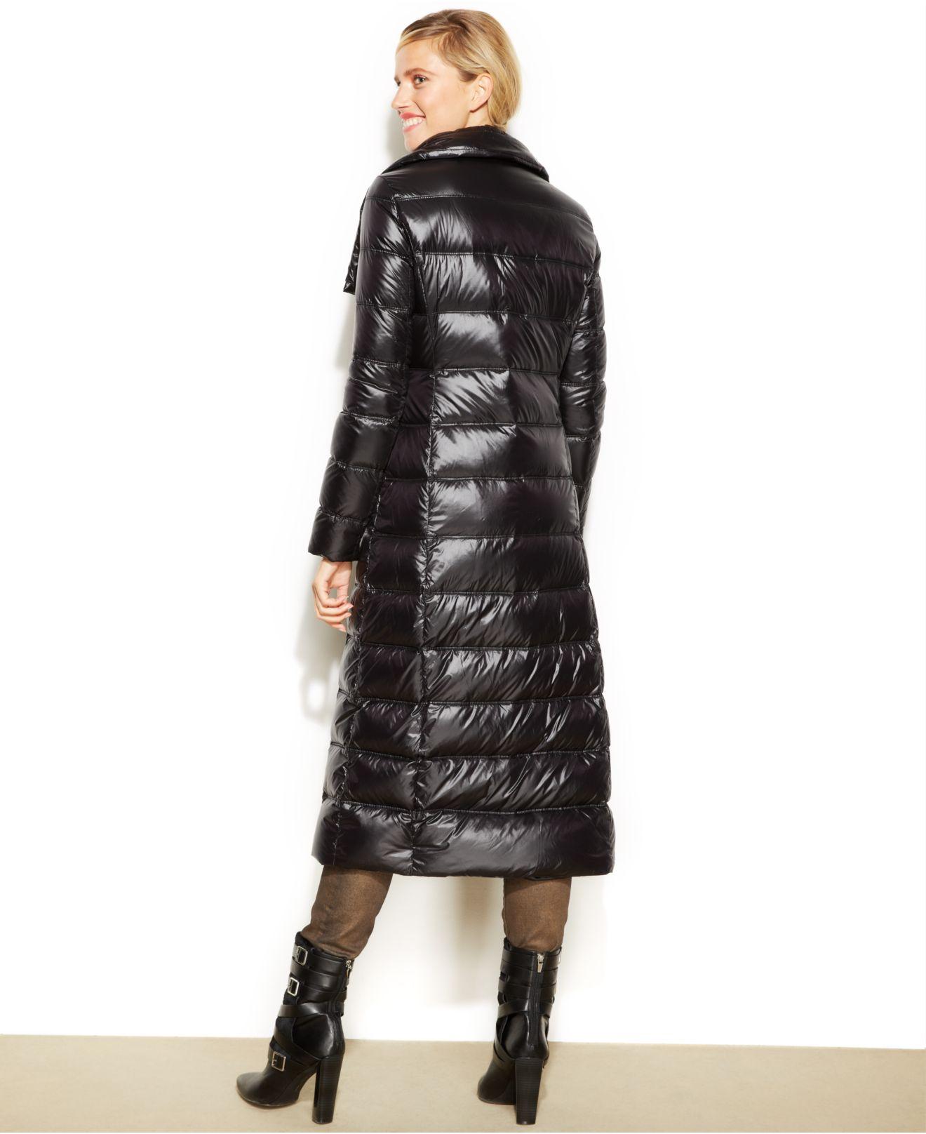 Calvin Klein Asymmetrical Maxi Down Puffer Coat In Black