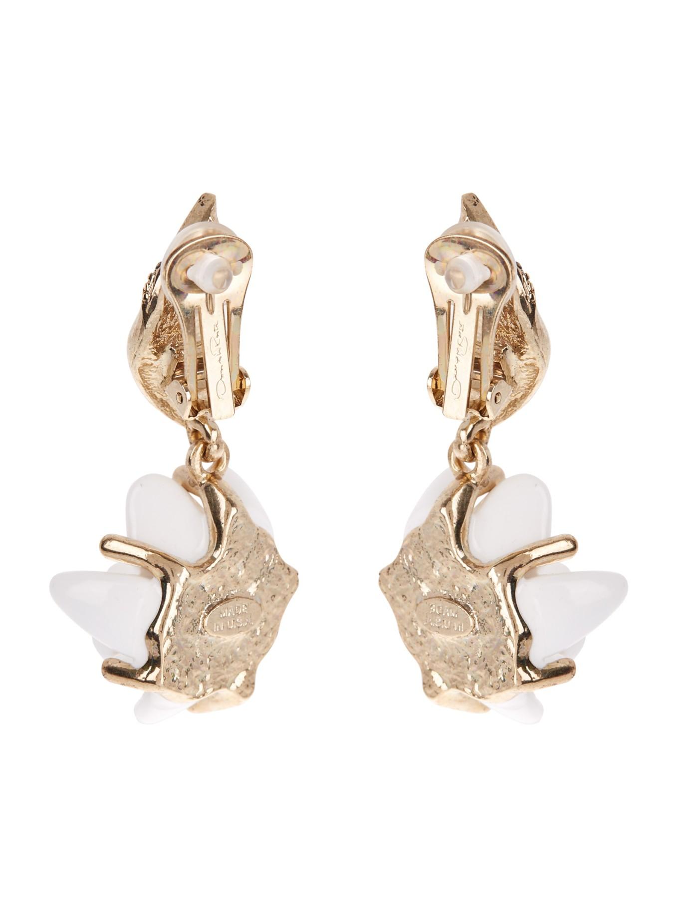 Oscar De La Renta Crystal-embellished clip-on earrings U8FOap