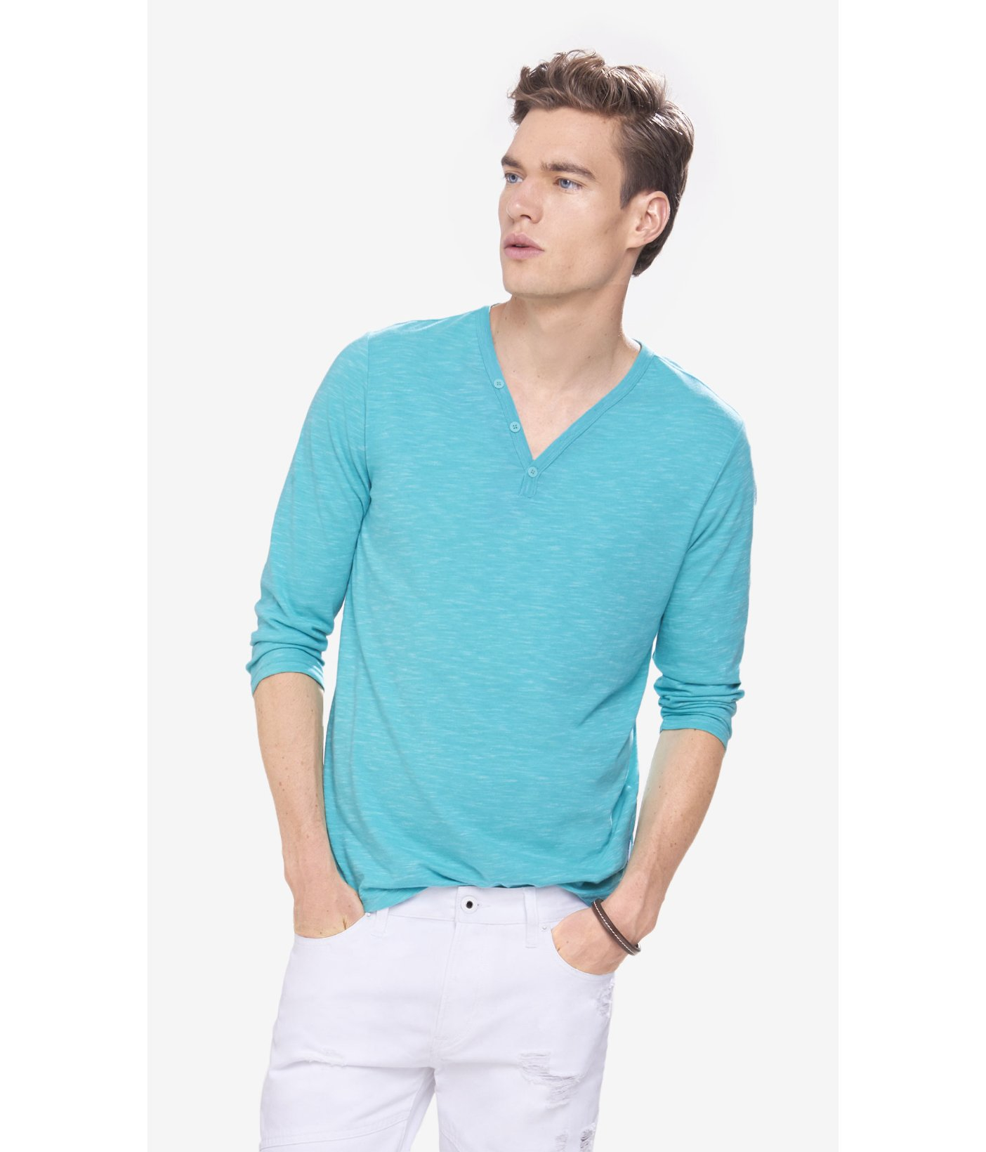 Express 3 4 sleeve space dyed henley tee in blue for men for 3 4 henley shirt
