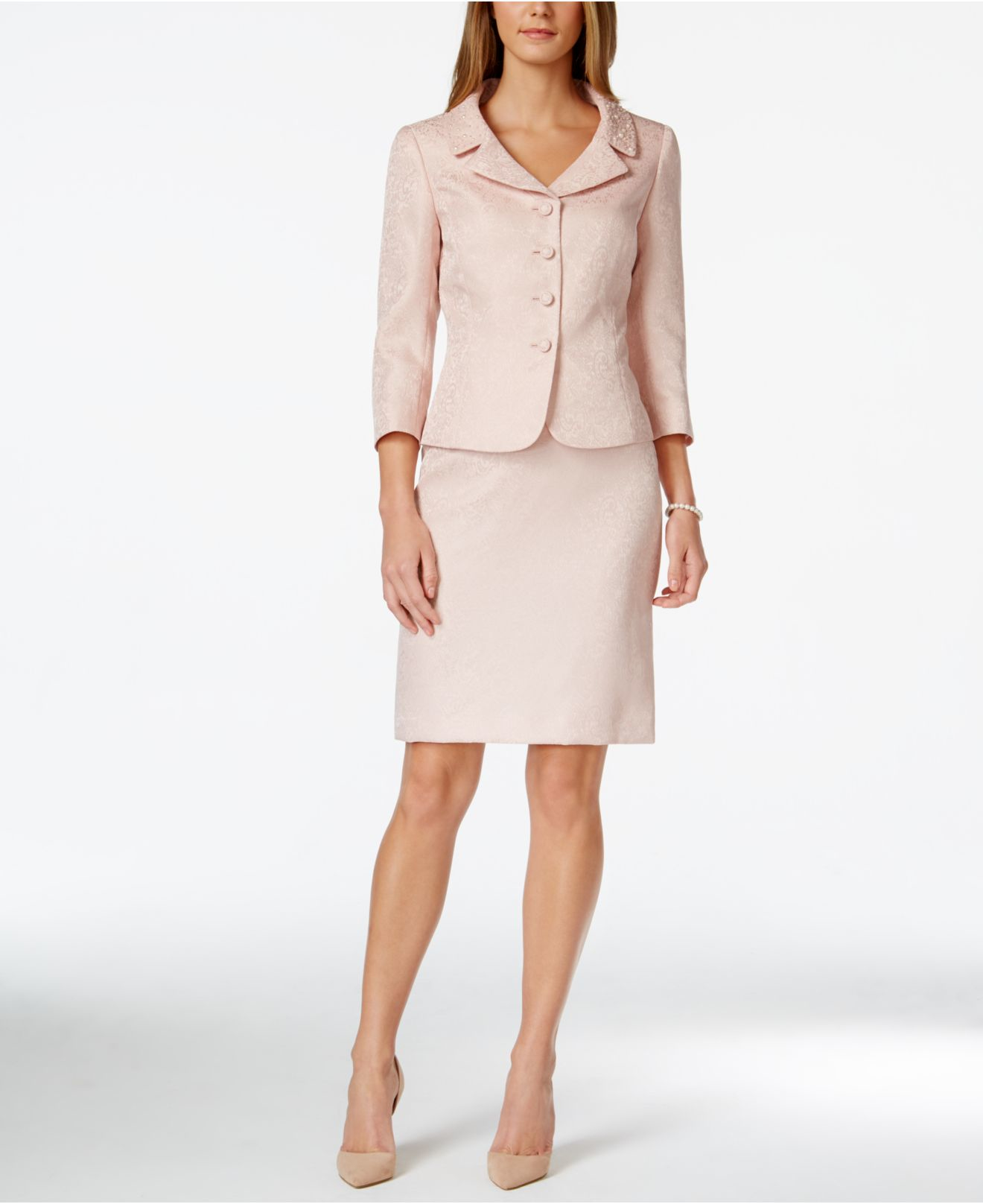 Lyst Tahari Jacquard Bead Trim Jacket Skirt Suit In Pink