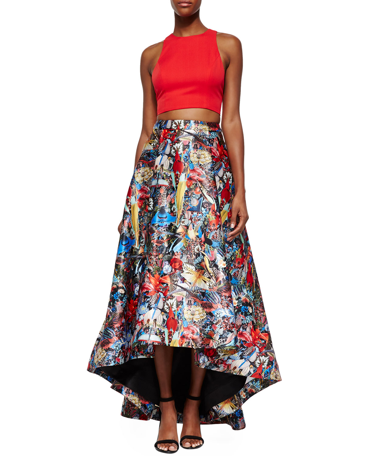 Alice   olivia Blythe Sleeveless Crop Top & Floral-Print High-Low ...