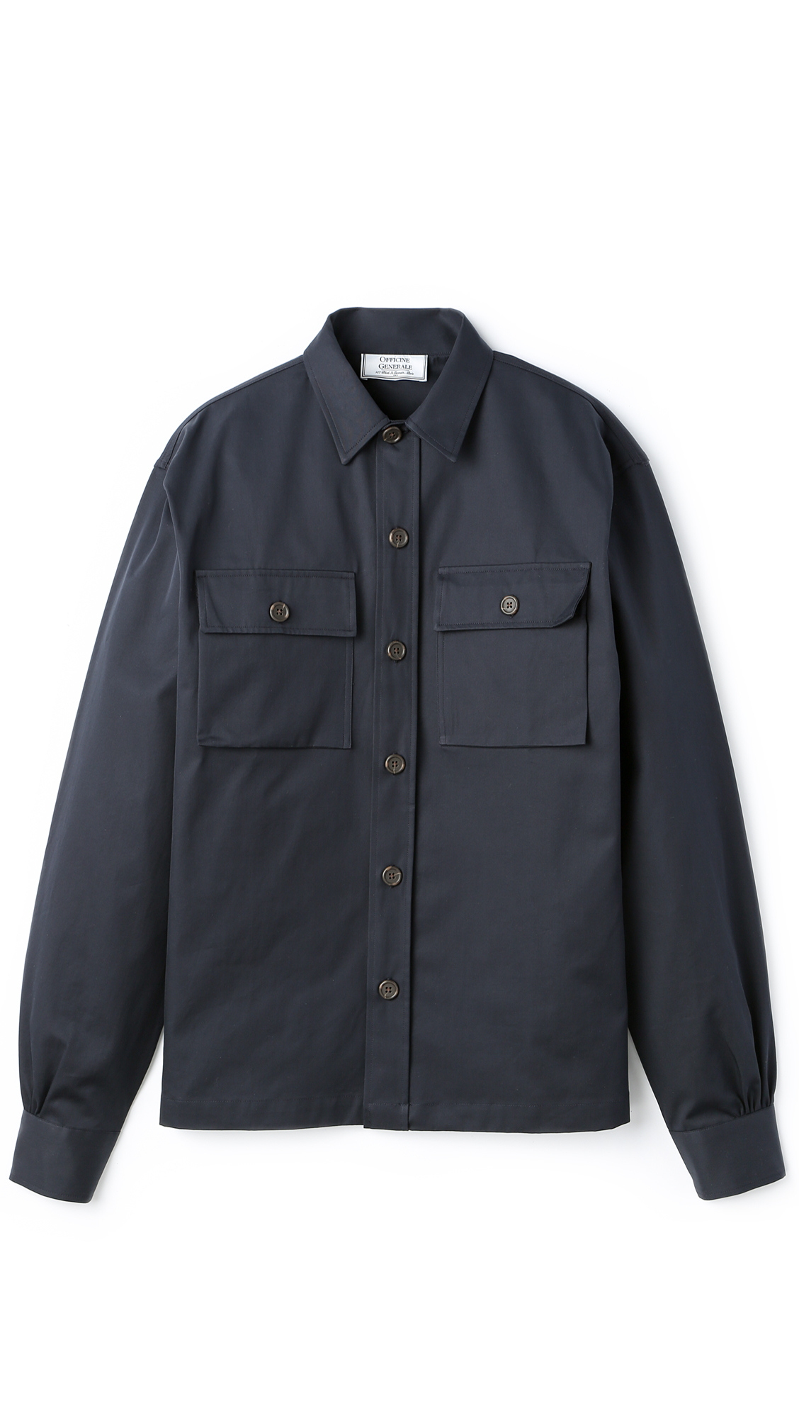 Officine Generale Italian Luxe Twill Overshirt In Blue For