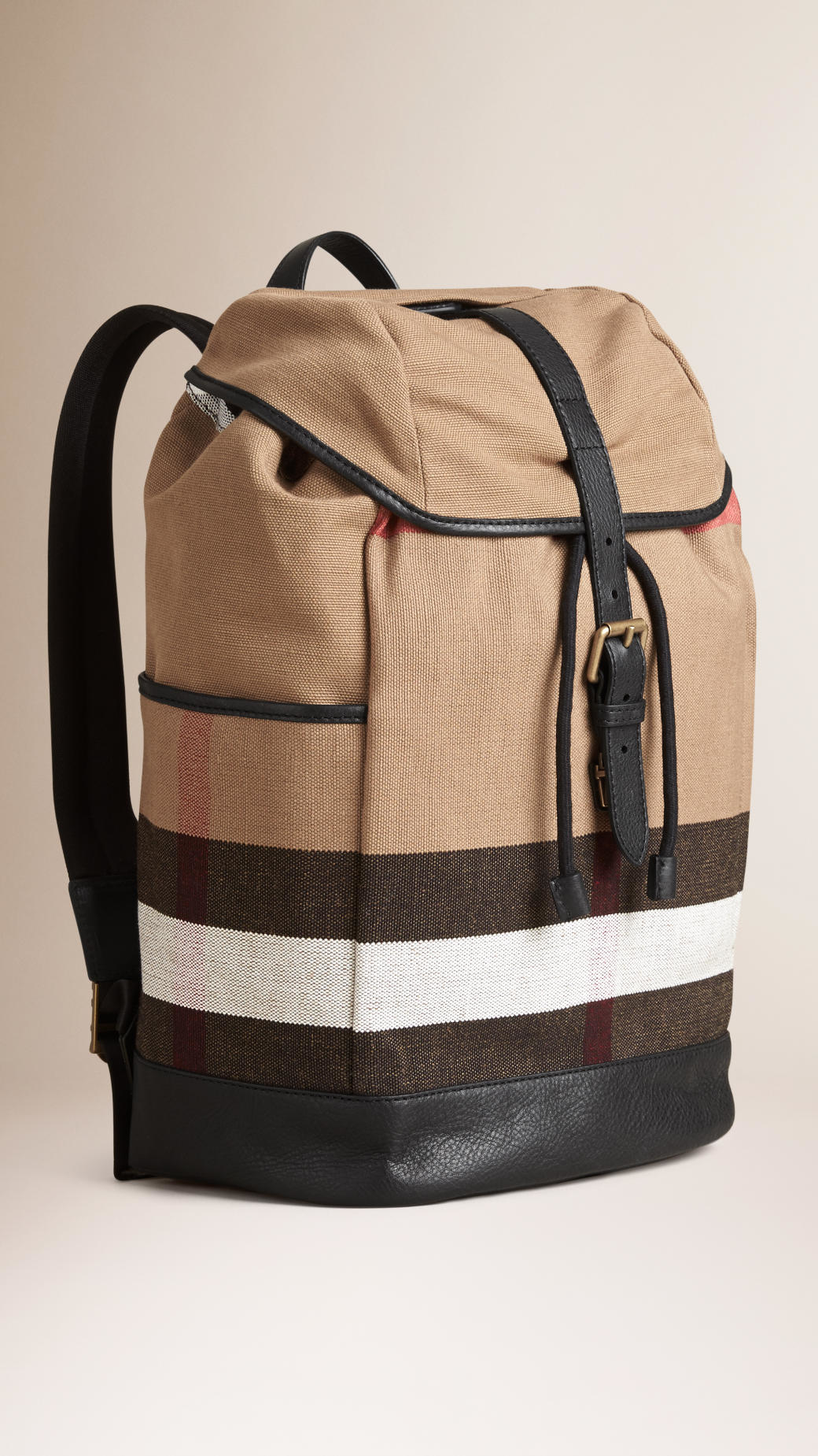 Burberry Canvas Check Backpack Camel in Beige for Men ...