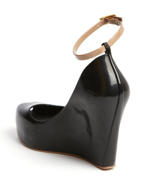 Melissa Black and Tan Rubber Patchuli V Wedge Sandals in ...