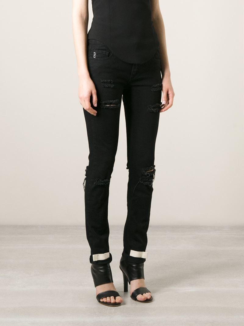 Lyst - Off-White c o Virgil Abloh Distressed Printed Skinny Jeans in ... d4b70f1e67