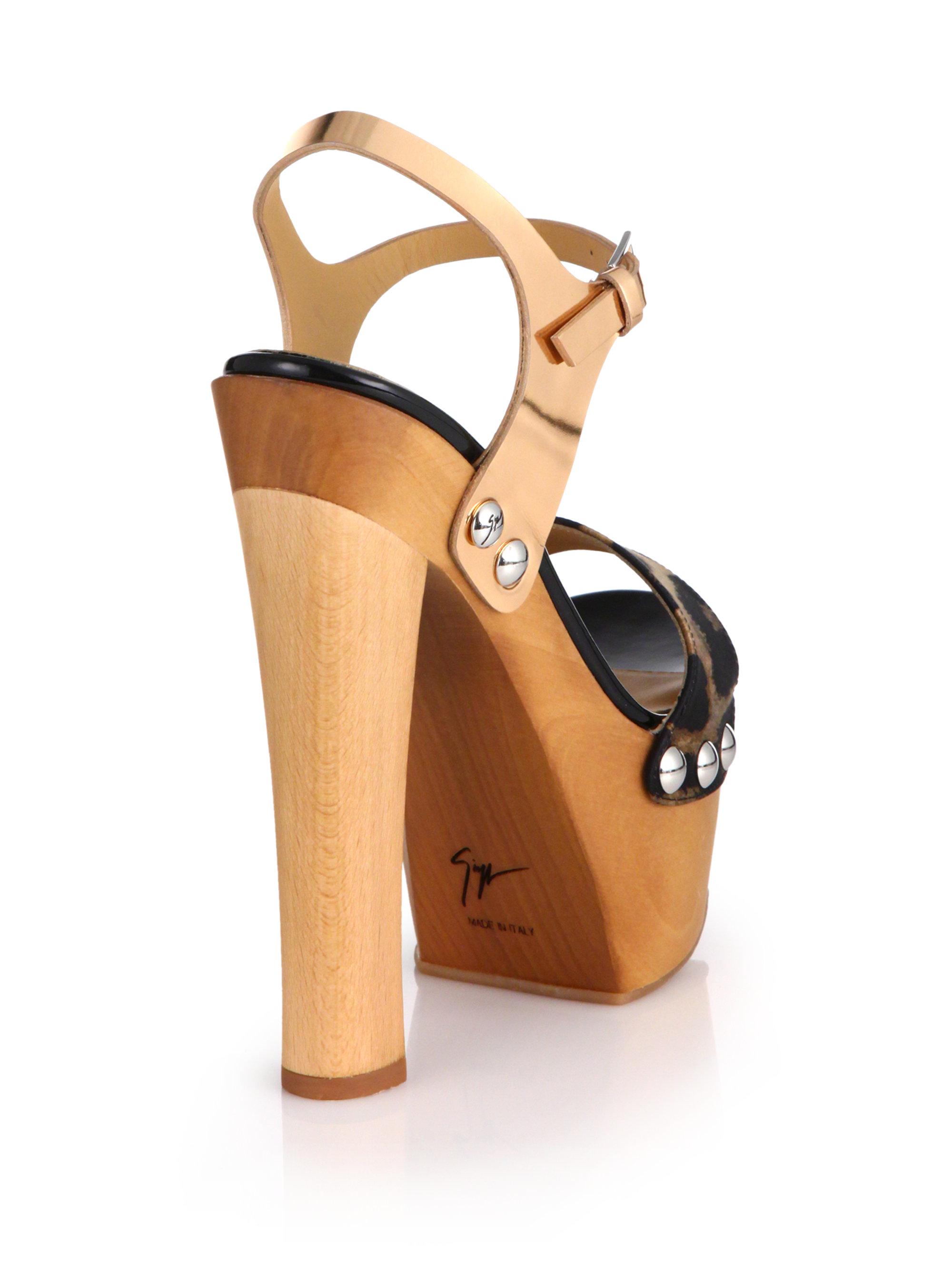 Lyst Giuseppe Zanotti Wooden Clog Platform Sandals