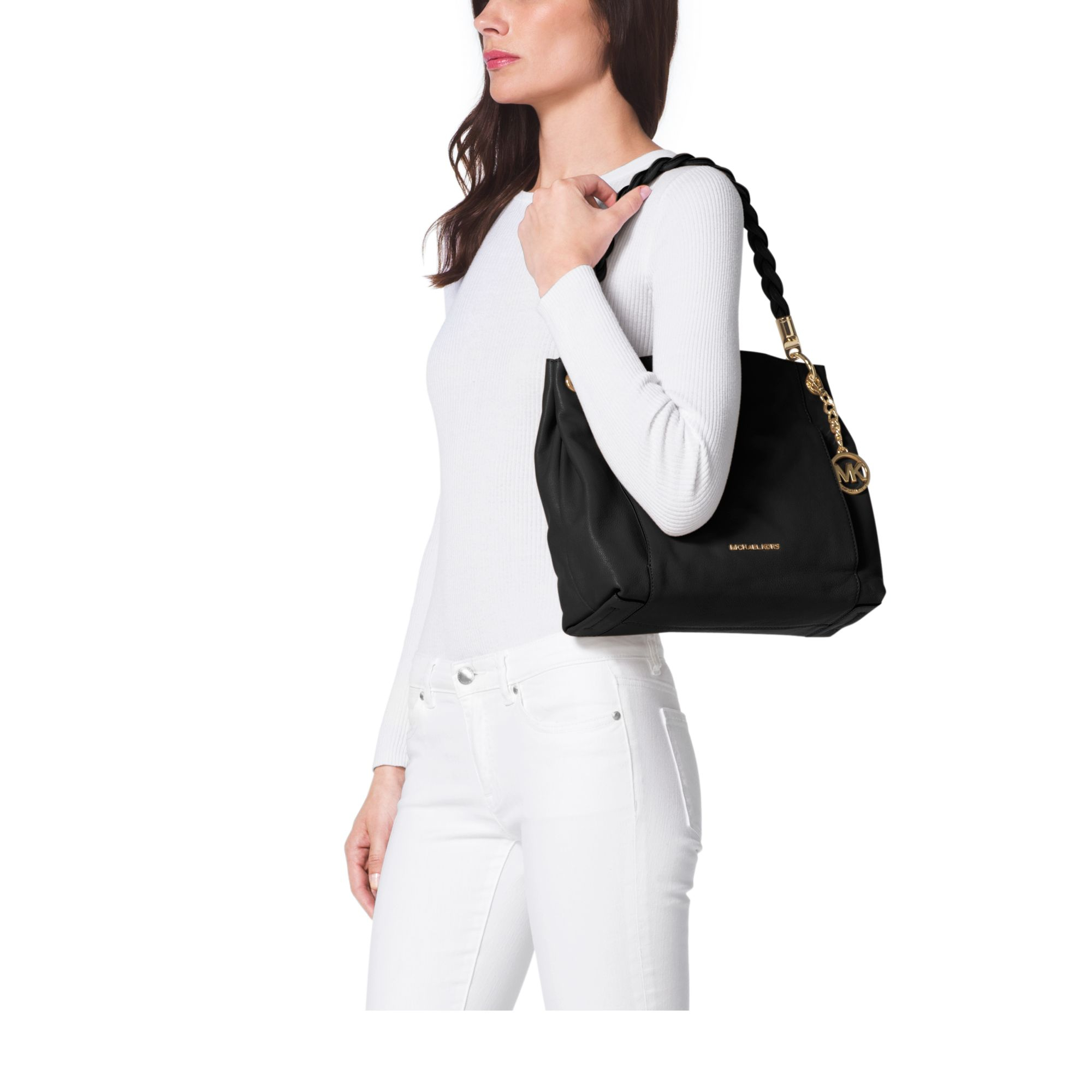 8f5c7c69b1a1 ... large tote gold nwt 348 96e45 ca4b5; cheap lyst michael kors naomi  leather top handle bag in black a81c3 ce427
