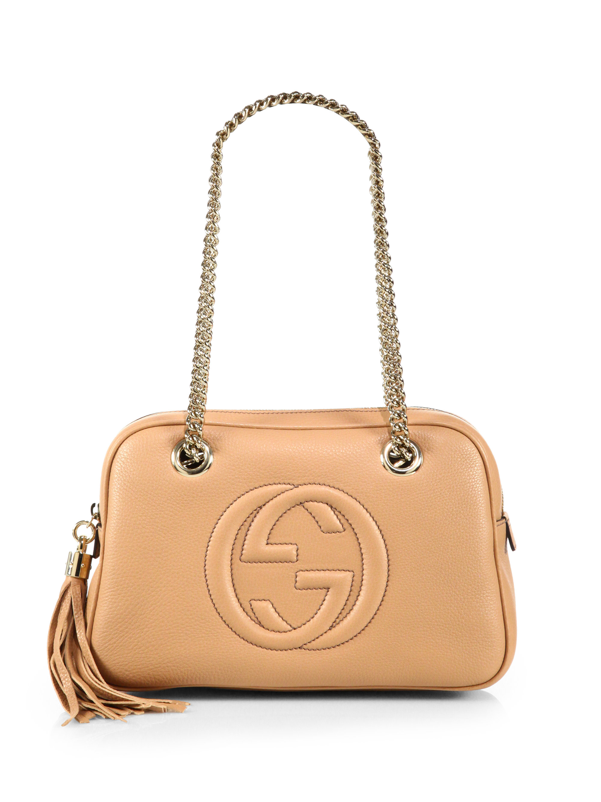 bede60c7f7c Lyst - Gucci Soho Leather Chain Shoulder Bag in Pink