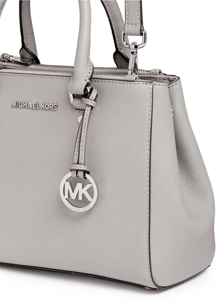 b751918cb3ed Lyst - Michael Kors  sutton  Small Saffiano Leather Satchel in Gray