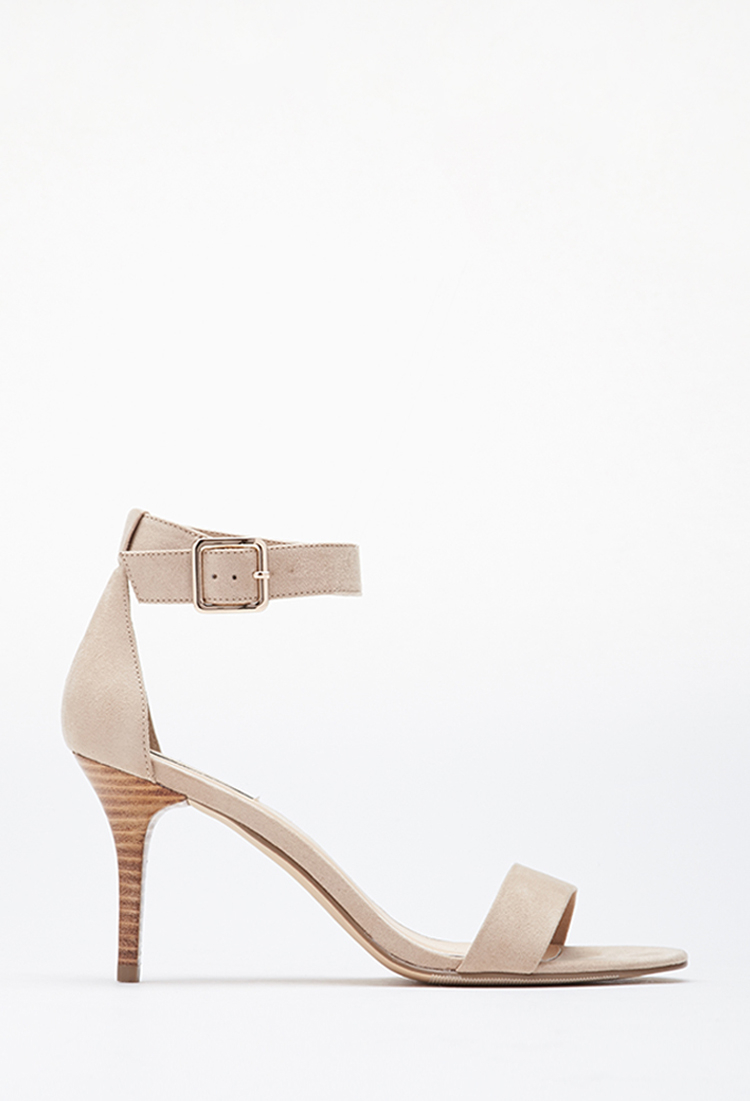 095b82913c884 Lyst - Forever 21 Faux Suede Ankle-strap Heels in Pink