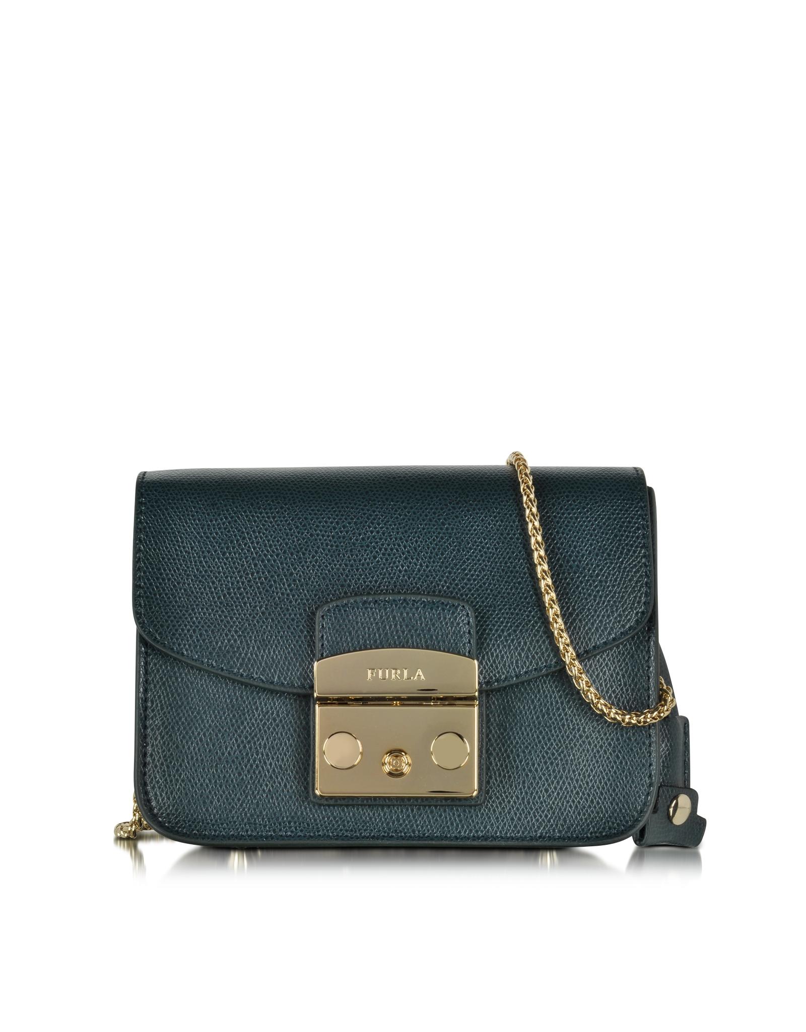 lyst furla metropolis malachite leather shoulder bag in green. Black Bedroom Furniture Sets. Home Design Ideas