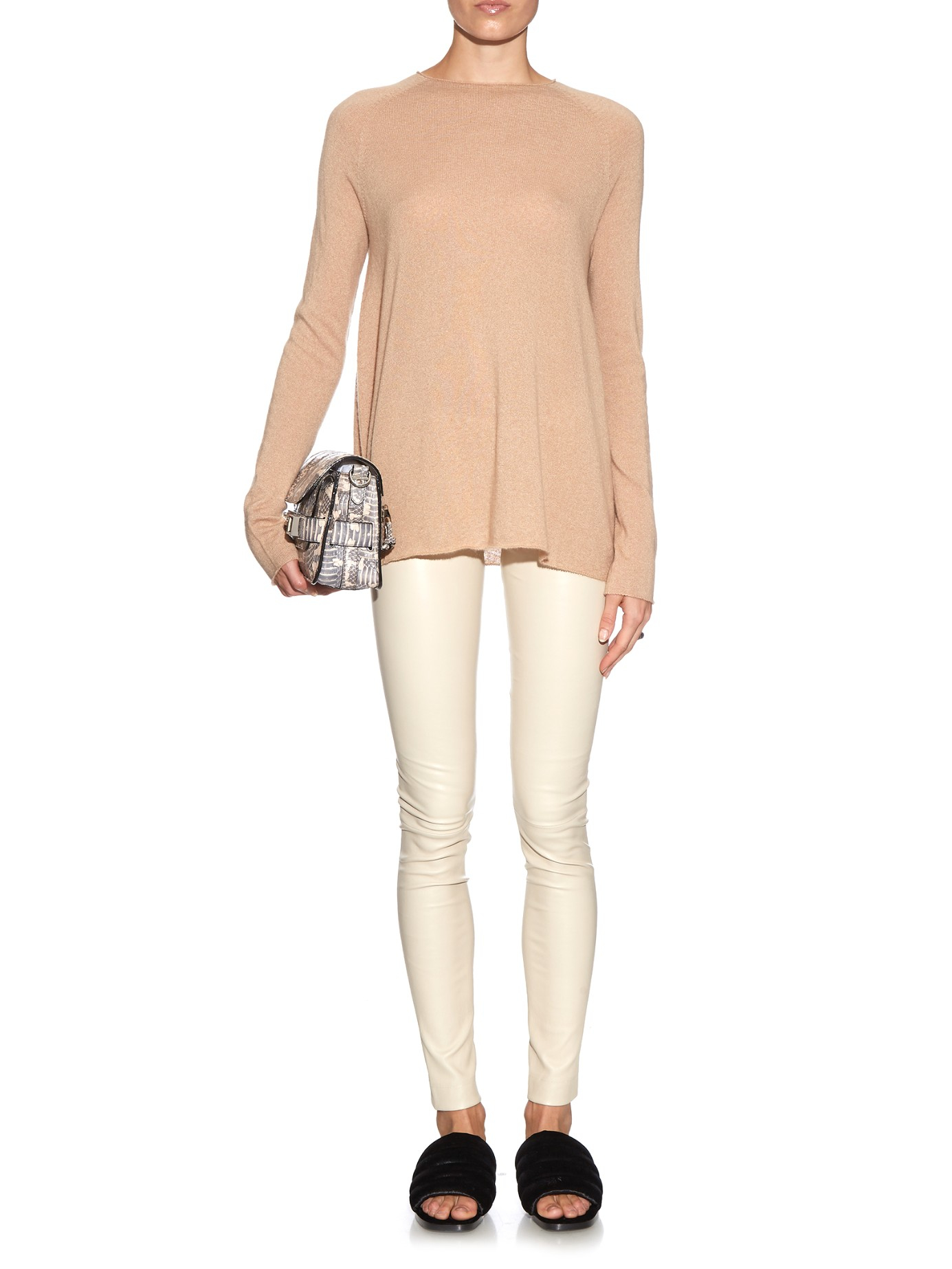 6bbeeb31e1f28 The Row Moto Leather Leggings in Natural - Lyst