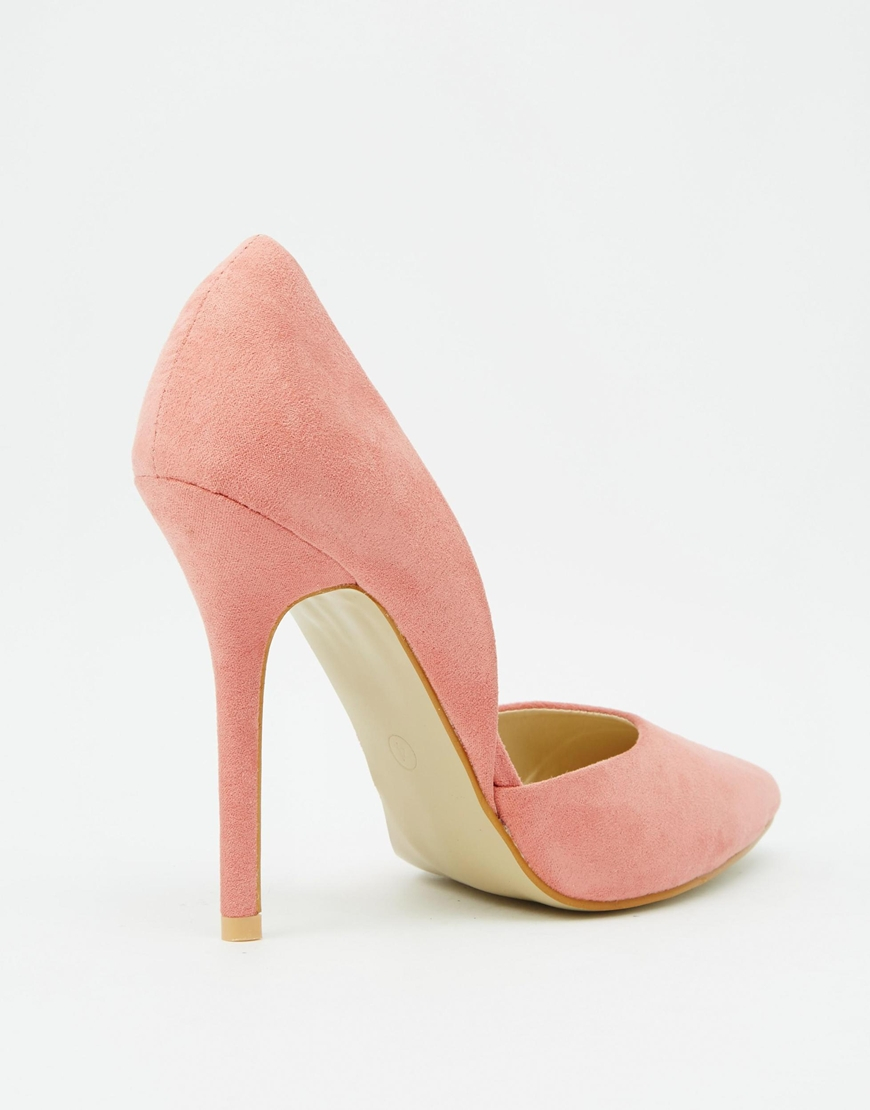 true decadence pink heeled court shoes in pink lyst