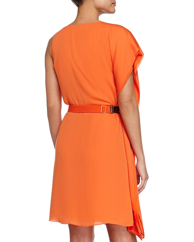 asymmetric drape sleeve dress with belt in orange