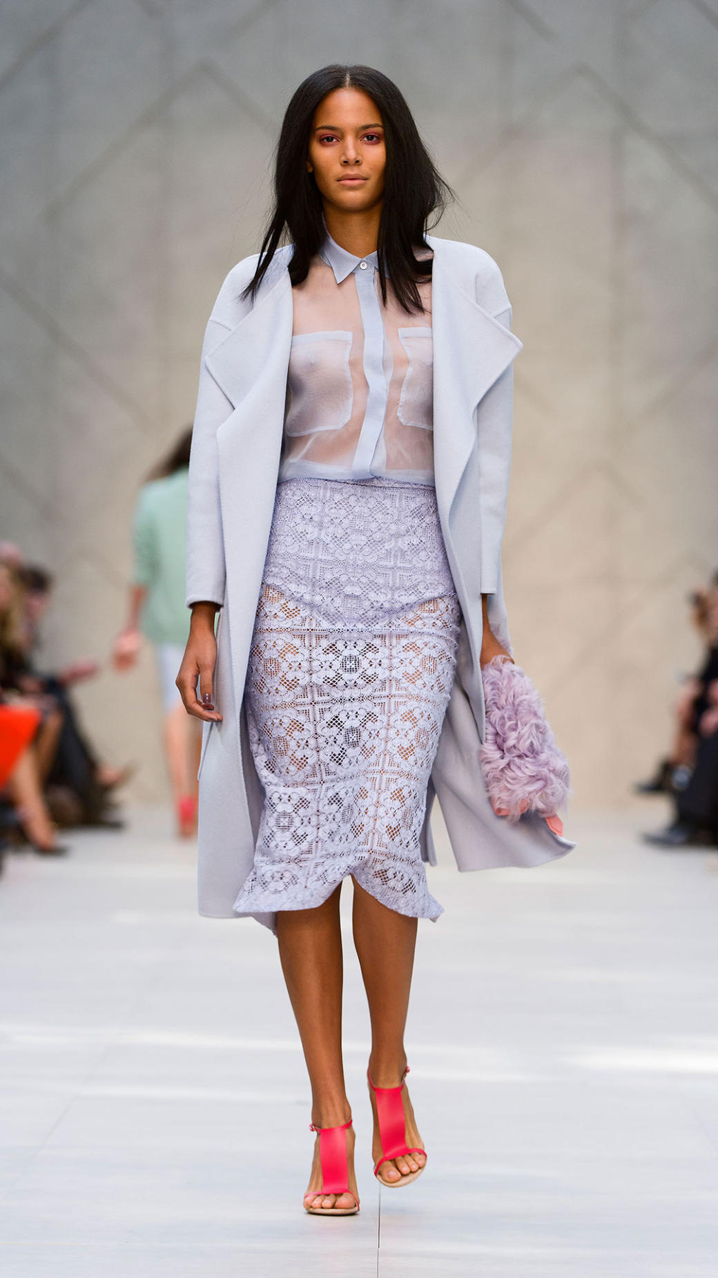 Burberry English Floral Lace Pencil Skirt in Purple | Lyst
