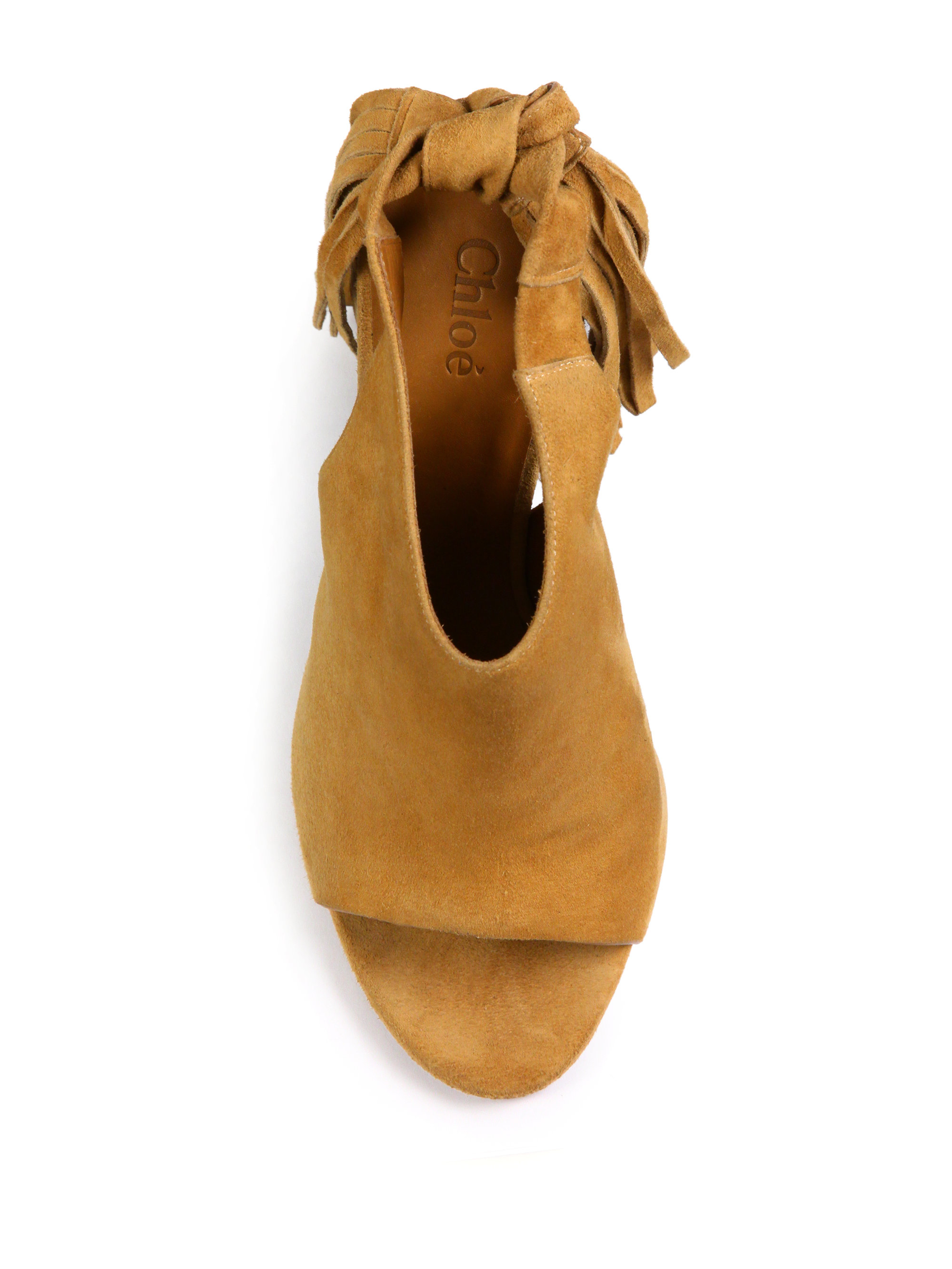 Lyst Chlo 233 Fringed Suede Peep Toe Wedge Sandals In Natural