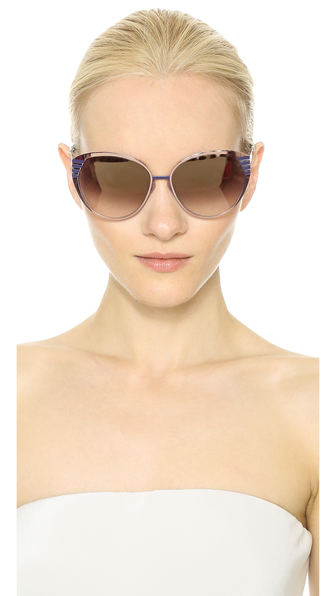 d08b0265f109 Fendi Mirrored Cat Eye Sunglasses - Light Peach Brown Mirror in Pink ...