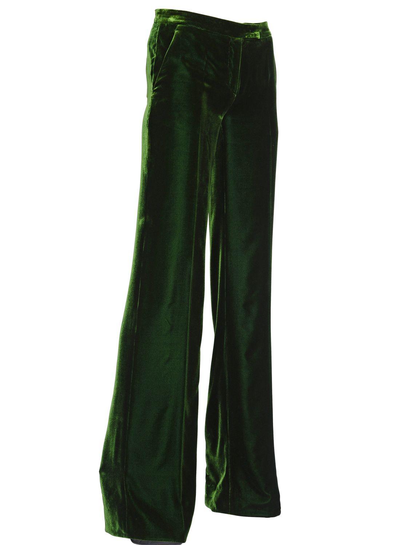 Emilio Pucci Viscose Silk Blend Velvet Trousers In Green