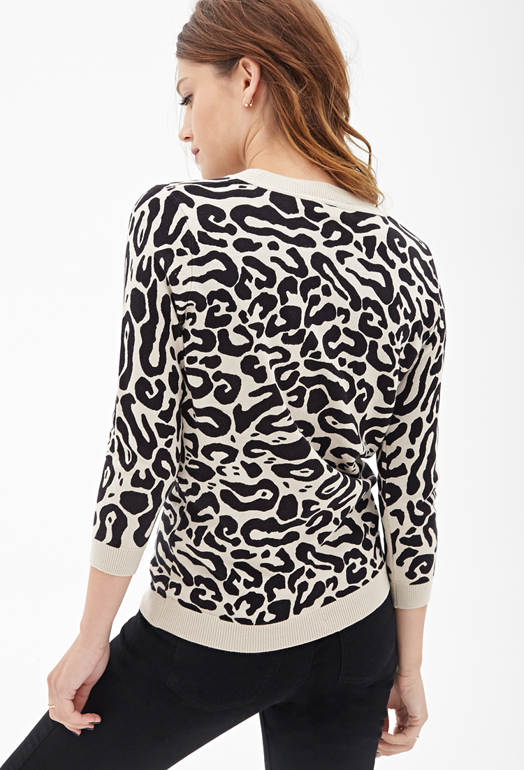 Forever 21 Leopard Print Crew Neck Sweater in Black | Lyst