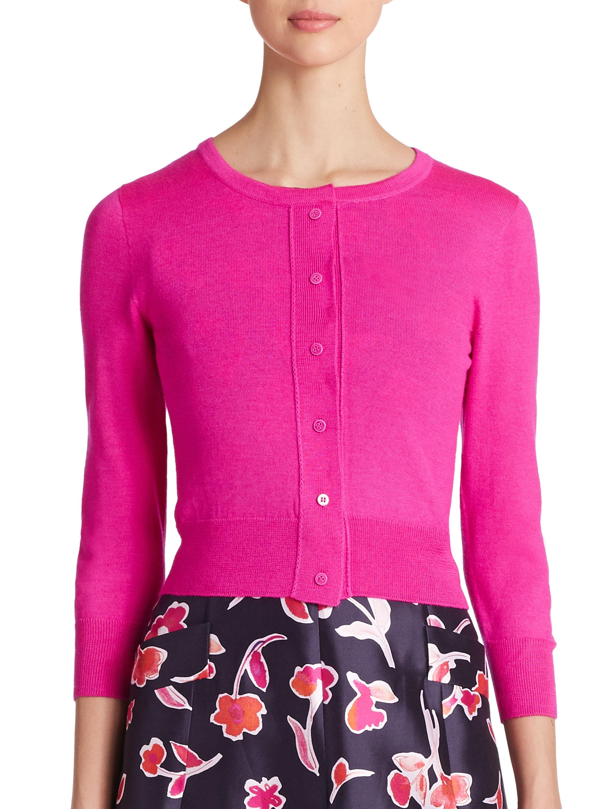 Oscar de la renta Cropped Silk Cashmere Cardigan in Pink | Lyst