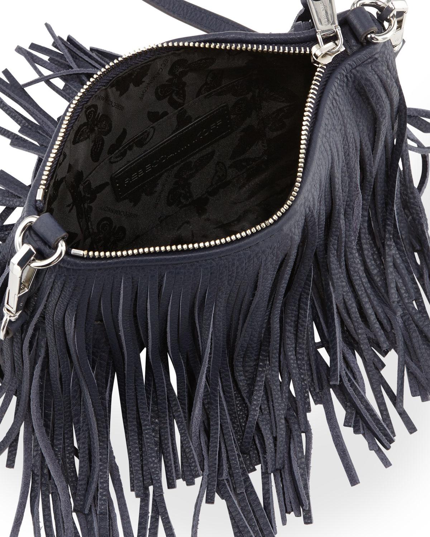 dfaccb110ef3 Rebecca Minkoff Finn Leather Fringed Cross-Body Bag in Blue - Lyst