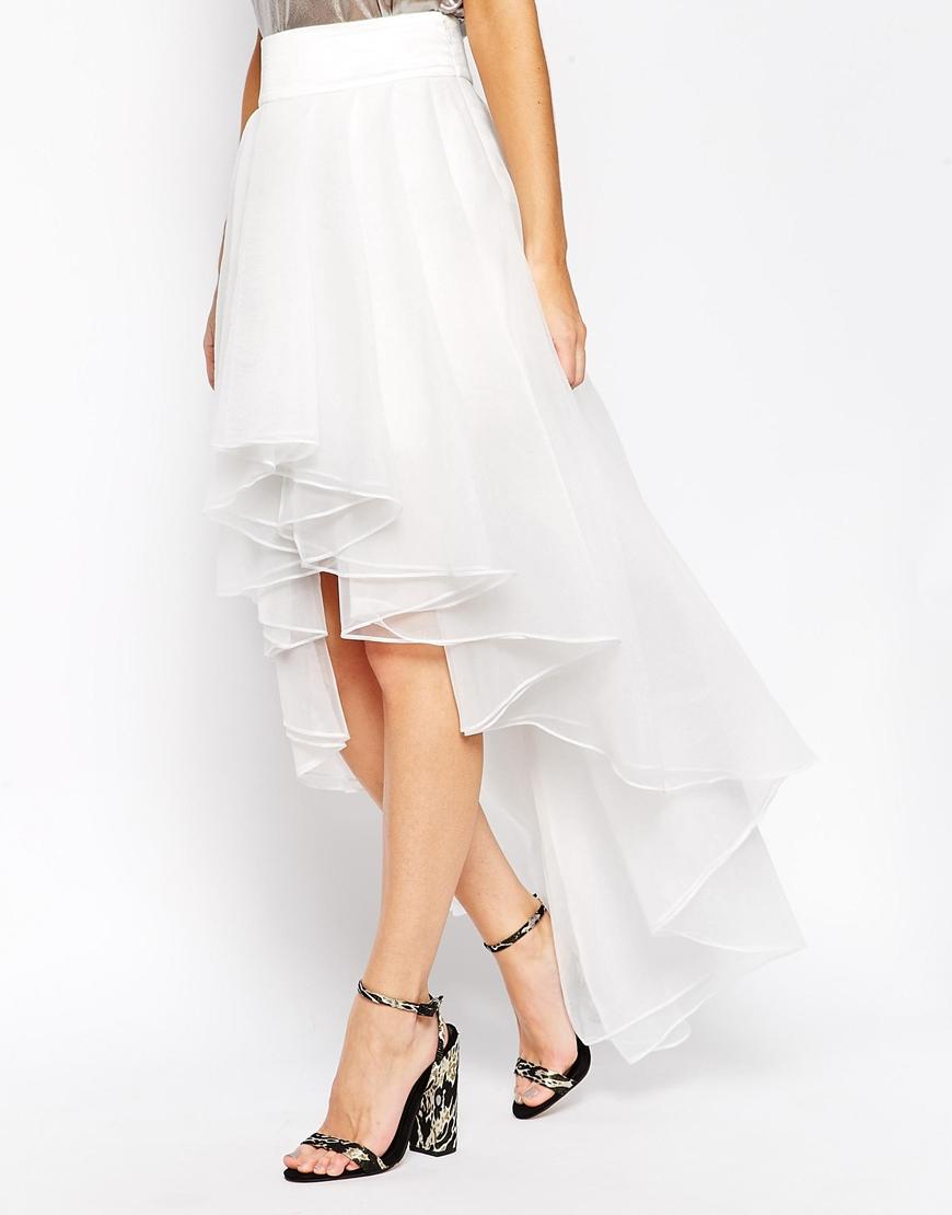803b8eccc2 ASOS Premium Organza Skirt With High Low Hem in White - Lyst