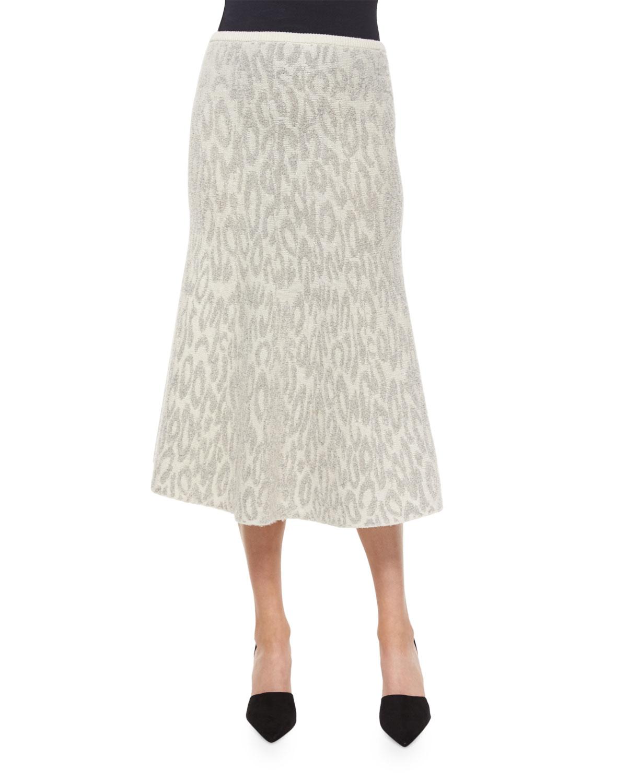 theory marvita leopard print knit midi skirt in gray lyst