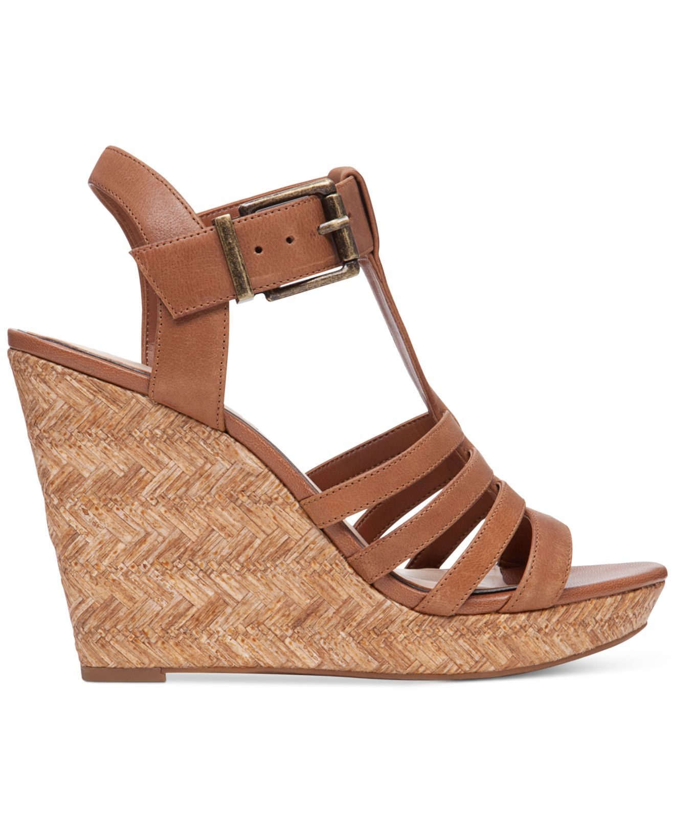 Jessica Simpson Jenaa Wedge Sandals In Brown Burnt Umber